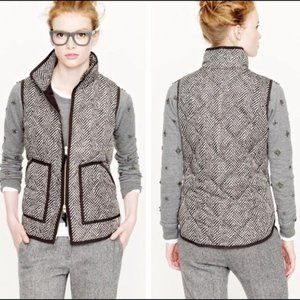 J. Crew Excursion Quilted Down Puffer Herringbone Vest Size XS